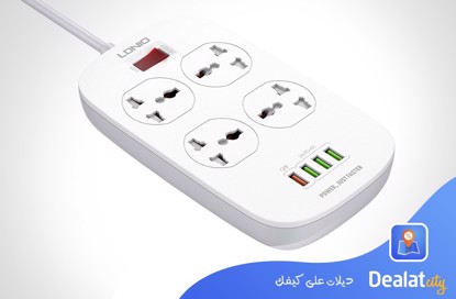 LDNIO SC4407 2 Meters Power Socket with 4 Socket Outlets and 4 USB Port - DealatCity Store